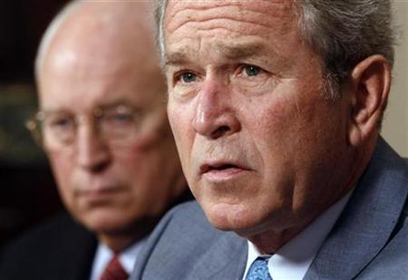 President George W. Bush (R) speaks to the press alongside Vice President Dick Cheney as they take part in a briefing on the aftermath of Hurricane Gustav, in the Roosevelt Room of the White House in Washington, September 2, 2008. REUTERS/Jason Reed