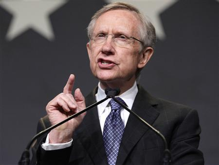 Senate Majority Leader Harry Reid, who faced Tea Party favorite Republican Sharron Angle in his race for the re-election, addresses supporters at an election night party in Las Vegas, Nevada, November 2, 2010. REUTERS/Las Vegas Sun/Steve Marcus