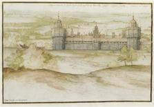 <p>Nonsuch Palace from the south. Black chalk, pen and brown and blue-black ink, watercolour, heightened with white and gold. REUTERS/Christie's Images Ltd./Handout</p>