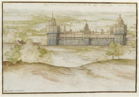 Nonsuch Palace from the south. Black chalk, pen and brown and blue-black ink, watercolour, heightened with white and gold. REUTERS/Christie's Images Ltd./Handout