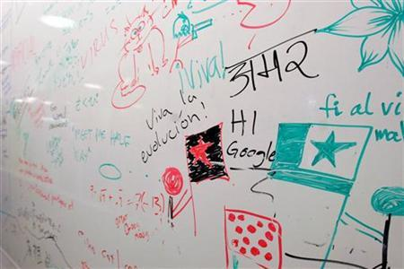 Doodles on a whiteboard at the Google headquarters in Mountain View, March 3, 2008. REUTERS/Erin Siegal