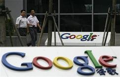 <p>Imagen de archivo del logo de Google en una oficina en Pekín. Jul 9 2010 Las Tablets PC que utilicen el sistema Android de Google robarán algunas ventas al iPad de Apple y tendrán el 15,2 por ciento del mercado en el 2011, dijo la firma de seguimiento de la industria IMS Research. REUTERS/Bobby Yip/ARCHIVO</p>
