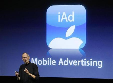 Apple Inc. CEO Steve Jobs speaks about the iAd mobile advertising platform at a special event at Apple headquarters in Cupertino, California in this April 8, 2010 file photo. REUTERS/Robert Galbraith