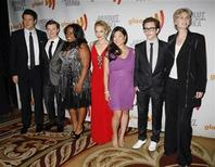 "<p>The cast of ""Glee"", Cory Monteith, Chris Colfer, Amber Riley, Dianna Agron, Jenna Ushkowitz, Kevin McHale, and Jane Lynch (L-R)in Century City, California April 17, 2010. REUTERS/Jason Redmond</p>"