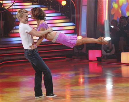 Professional dancer Derek Hough and his partner Jennifer Grey perform during the ABC reality series 'Dancing with the Stars' finals in Hollywood, November 22, 2010. REUTERS/Adam Larkey/ABC/Handout