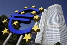 <p>Штаб-квартира Европейского центрального банка во Франкфурте-на-Майне 18 сентября 2008 года. Россия может когда-нибудь оказаться в одной валютной зоне с Европой, сказал премьер Владимир Путин. REUTERS/Alex Grimm</p>