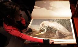"<p>A Sotheby's employee turns a page of John James Audubon's ""Birds of America"", at Sotheby's in London December 6, 2010. REUTERS/Suzanne Plunkett</p>"