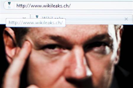 A screen shot of a web browser shows the WikiLeaks home page with a portrait of its founder Julian Assange in Lavigny, December 4, 2010. REUTERS/Valentin Flauraud