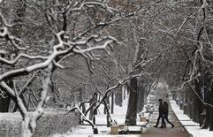 <p>Пара гуляет по парку в Москве 21 ноября 2010 года. Грядущие выходные принесут Москве похолодание, однако не обещают продолжения сильных снегопадов, ожидают синоптики. REUTERS/Sergei Karpukhin</p>