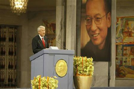 Norwegian Nobel committee chairman Thorbjoern Jagland speaks during the Nobel Peace Prize ceremony at Oslo City Hall December 10, 2010. Chinese dissident Liu Xiaobo was awarded the Nobel Peace Prize in an Oslo ceremony derided by Beijing as a farce. REUTERS/Heiko Junge/Scanpix Norway/Pool