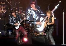 "<p>Jon Bon Jovi and Richie Sambora (L) perform during the ""Rock in Rio"" music festival in Arganda del Rey near Madrid June 4, 2010. REUTERS/Andrea Comas</p>"