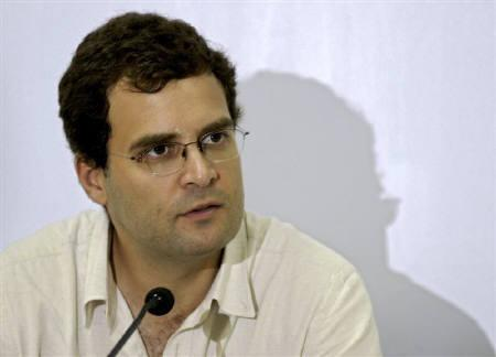 Rahul Gandhi, a lawmaker and son of India's ruling Congress party chief Sonia Gandhi, addresses a news conference in Agartala October 6, 2009. REUTERS/Jayanta Dey/Files