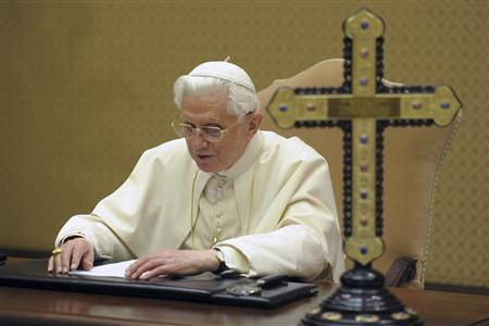 Pope Benedict XVI is seen during a recording session for BBC radio's ''Thought for the Day'' programme, at the Vatican December 24, 2010. REUTERS/Osservatore Romano