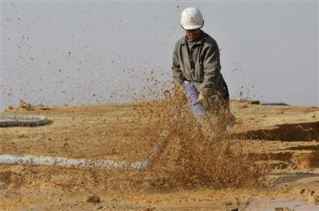 A worker waters the site of a rare earth metals mine at Nancheng county, Jiangxi province December 30, 2010. REUTERS/Stringer