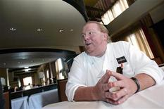 <p>Celebrity chef Mario Batali talks during an interview with Reuters at his latest restaurant, Del Posto, in New York April 11, 2006. REUTERS/Brendan McDermid</p>
