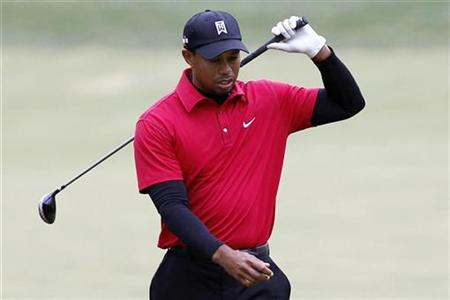 Tiger Woods reacts after hitting a shot on the 16th fairway into the rough short of the green during the final round of the Chevron World Challenge golf tournament in Thousand Oaks, California, December 5, 2010. REUTERS/Danny Moloshok