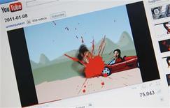 <p>Página da Coreia do Norte no Youtube atacada por hackers mostra o filho do líder Kim Jong-il, Kim Jong-un, atropelando moradores pobres do país com um carro esportivo. 09/01/2011 REUTERS/Lee Jae-Won</p>
