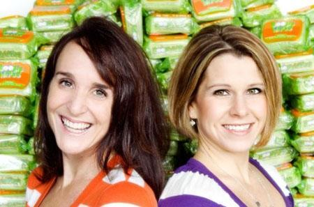 Entrepreneurs Julie Pickens (left), 44, who launched Boogie Wipes with fellow mother and co-founder Mindee Doney (right), 35, in the spring of 2008 are seen in this undated handout photo. REUTERS/handout/Boogie Wipes