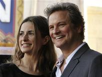 <p>British actor Colin Firth poses with wife, Italian film producer Livia Giuggioli during the unveiling of his star on the Hollywood Walk of Fame in Hollywood, California January 13, 2011. REUTERS/Fred Prouser</p>