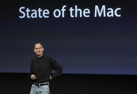 Apple CEO Steve Jobs unveils the latest improvements to the company's Mac software during a news conference at Apple Inc. headquarters in Cupertino, California October 20, 2010. REUTERS/Norbert von der Groeben