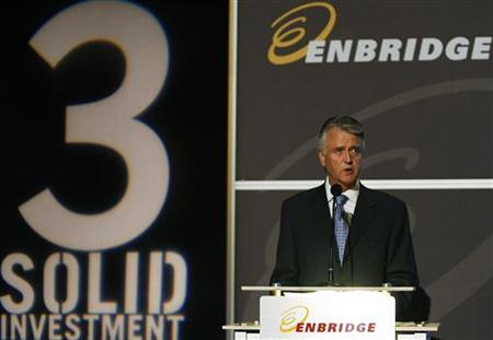 Patrick Daniel, president and chief executive officer of Enbridge, addresses shareholders at the company's annual general meeting in Calgary May 7, 2008. REUTERS/Todd Korol