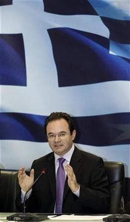 Archivbild: Griechenlands Finanzminister Giorgos Papakonstantinou während einer Pressekonferenz in Athen am 23. November 2010. REUTERS/Yiorgos Karahalis