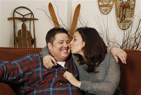 Chaz Bono poses for a portrait with his girlfriend, Jennifer Elia, while promoting the film Becoming Chaz during the Sundance Film Festival in Park City, Utah January 23, 2011. REUTERS/Lucas Jackson