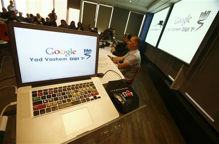 Google and Yad Vashem officials hold a news conference to launch an archive retrieval project at the Google office in Tel Aviv January 26, 2011. REUTERS/Baz Ratner