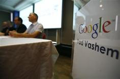 <p>Google and Yad Vashem officials hold a news conference to launch an archive retrieval project at the Google office in Tel Aviv, January 26, 2011. REUTERS/Baz Ratner</p>