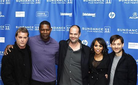 Director Jacob Aaron Estes (C) arrives with cast members (L-R) Ray Liotta, Dennis Haysbert, Kerry Washington and Tobey Maguire for the premiere of the film ''The Details'' during the Sundance Film Festival in Park City, Utah January 24, 2011. REUTERS/Lucas Jackson