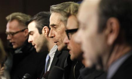Cast members (from L-R) Paul Bettany, Zachary Quinto, Jeremy Irons, Simon Baker and Kevin Spacey are interviewed at the premiere of ''Margin Call'' during the Sundance Film Festival in Park City, Utah January 25, 2011. REUTERS/Mario Anzuoni