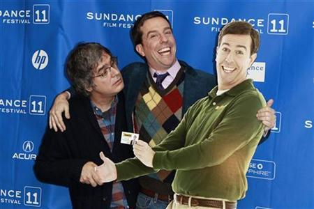 Cast member Ed Helms and director Miguel Arteta (L) pose with a cardboard cutout of Helms' character from the film ''Cedar Rapids'' at the movie's premiere during the Sundance Film Festival in Park City, Utah January 23, 2011. REUTERS/Lucas Jackson
