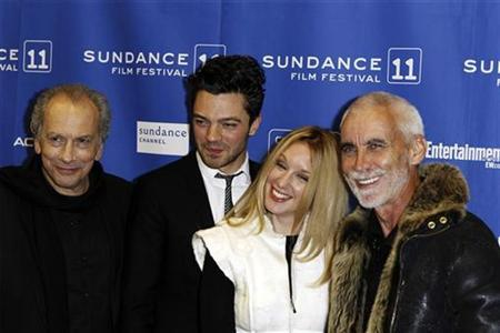 Actors Raad Rawi, Dominic Cooper and Ludivine Sagnier (L-2nd R) arrive with director Lee Tamahori for the premiere of the film ''The Devil's Double'' during the Sundance Film Festival in Park City, Utah January 22, 2011. REUTERS/Lucas Jackson