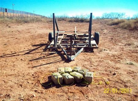 A seized catapult that Mexican smugglers tried to use to hurl drugs north over the U.S. Border is seen in this undated handout photo. REUTERS/U.S. Customs and Border Protection/Handout