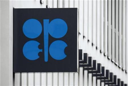 The logo of the Organization of the Petroleum Exporting Countries (OPEC) is pictured on the wall of the new OPEC headquarters in Vienna March 16, 2010. OPEC oil ministers will gather for the 156th OPEC meeting in Vienna on Wednesday. REUTERS/Heinz-Peter Bader