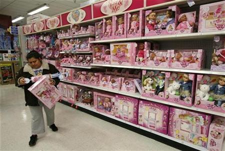 An entire shelf of toys made in China are displayed at a major toy store in the Washington area January 14, 2011. REUTERS/Kevin Lamarque