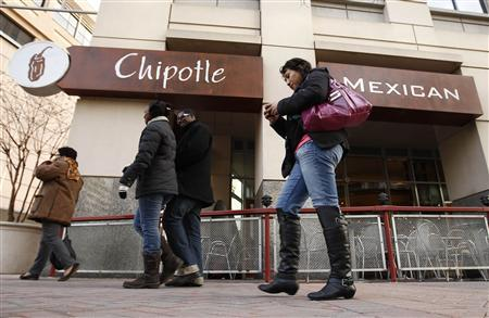 Pedestrians pass a Chipotle Mexican restaurant in Arlington, Virginia February 4, 2011. REUTERS/Kevin Lamarque