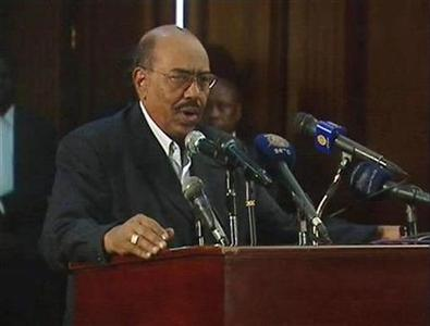 Sudanese President Omar Hassan al-Bashir speaks during an address on state TV in Khartoum in this video frame grab taken February 7, 2011. REUTERS/Sudan television via Reuters TV