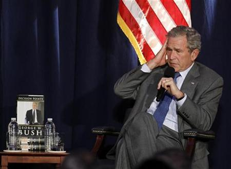 Former President George W. Bush answers questions about his presidency at the Ronald Reagan Presidential Library in Simi Valley, California, November 18, 2010. REUTERS/Lucy Nicholson