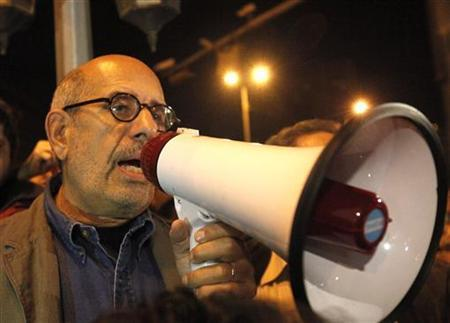 Egyptian opposition leader Mohamed ElBaradei speaks to protesters at Tahrir Square in Cairo January 30, 2011. ElBaradei told thousands of protesters in central Cairo on Sunday that an uprising against Hosni Mubarak's rule ''cannot go back''. REUTERS/Asmaa Waguih