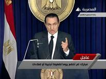 <p>Hosni Mubarak addresses the nation in this still image taken from video February 10, 2011. REUTERS/Egyptian State TV via Reuters TV</p>