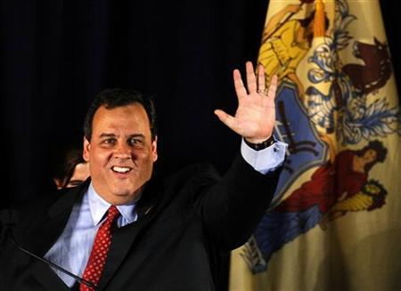 New Jersey Governor-elect Chris Christie greets supporters before delivering his victory speech at election night headquarters in Parsippany, New Jersey, in this November 3, 2009 file photo. REUTERS/Jeff Zelevansky/Files