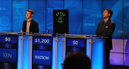 IBM's Watson computer system competes against Jeopardy! contestants Ken Jennings and Brad Rutter in a practice match held during a press conference at IBM's Watson Research Center in Yorktown Heights, January 13, 2011. REUTERS/IBM
