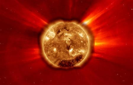 The large X2 solar flare as seen in extreme ultraviolet light on February 15, 2011, the largest solar flare since December 2006. REUTERS/NASA/SDO