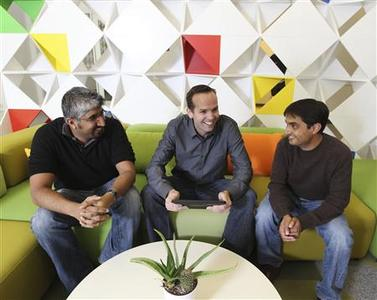 Dave Girouard, president, Enterprise for Google , Rajen Sheth, group product manager for Chrome OS for business, (R) and Shan Sinha, group product manager of Google Apps (L) pose for Reuters at Google headquarter in Mountain View, California, February 16, 2011. REUTERS/Norbert von der Groeben