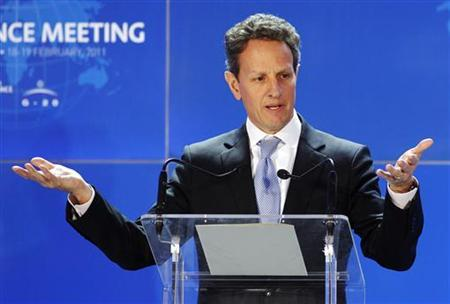 U.S Treasury Secretary Timothy Geithner addresses a news conference at the end of the G20 finance meeting in Paris February 19, 2011. REUTERS/Benoit Tessier