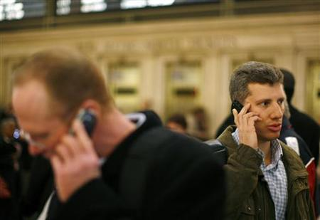 A man talks on his cell phone inside Grand Central Station in New York in this March 4, 2008 file photo. REUTERS/Lucas Jackson