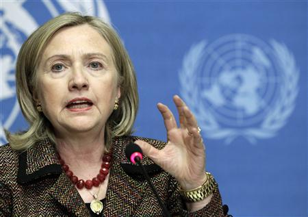 Secretary of State Hillary Clinton gestures during a news conference after her speech at the United Nations Human Rights Council in Geneva February 28, 2011. REUTERS/Denis Balibouse