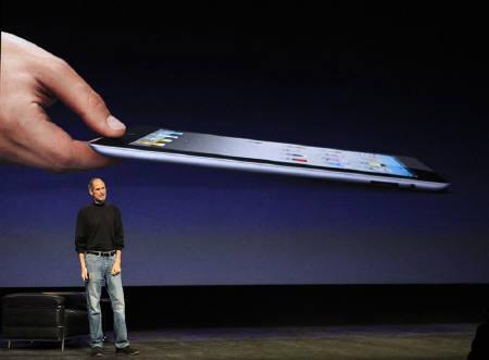 Apple Inc. CEO Steve Jobs introduces the iPad 2 on stage during an Apple event in San Francisco, California March 2, 2011. REUTERS/Beck Diefenbach