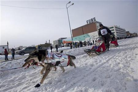 Reigning Iditarod champion Lance Mackey and his team charge down the trail just after the ceremonial start of the Iditarod Trail Sled Dog Race in Anchorage, Alaska, March 6, 2010. REUTERS/Nathaniel Wilder